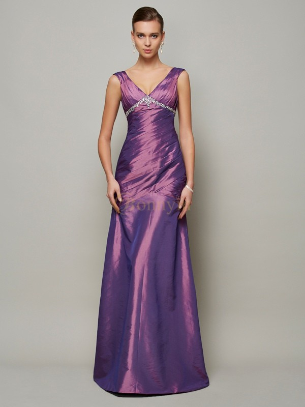Regency Taffeta V-neck Sheath/Column Floor-Length Dresses