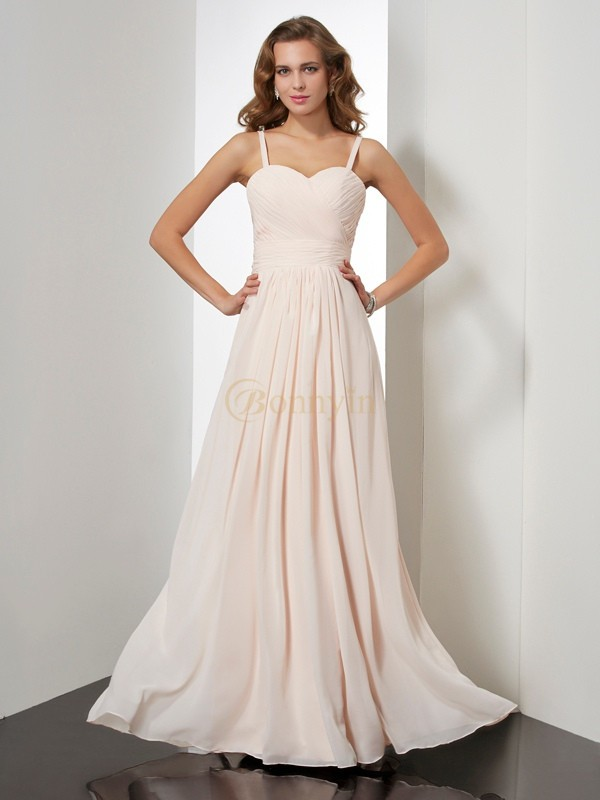 Champagne Chiffon Spaghetti Straps Sheath/Column Floor-Length Dresses