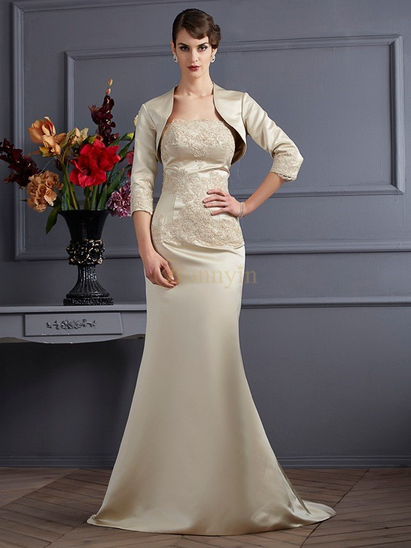 Champagne Satin Strapless Trumpet/Mermaid Sweep/Brush Train Mother of the Bride Dresses