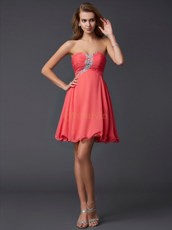 Watermelon Chiffon Sweetheart A-Line/Princess Short/Mini Cocktail Dresses