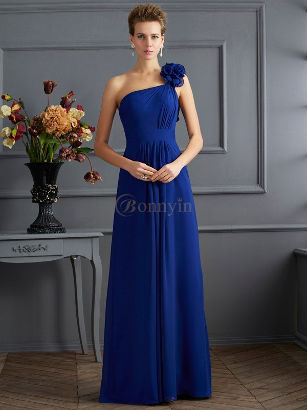 Royal Blue Chiffon One-Shoulder A-Line/Princess Floor-Length Dresses