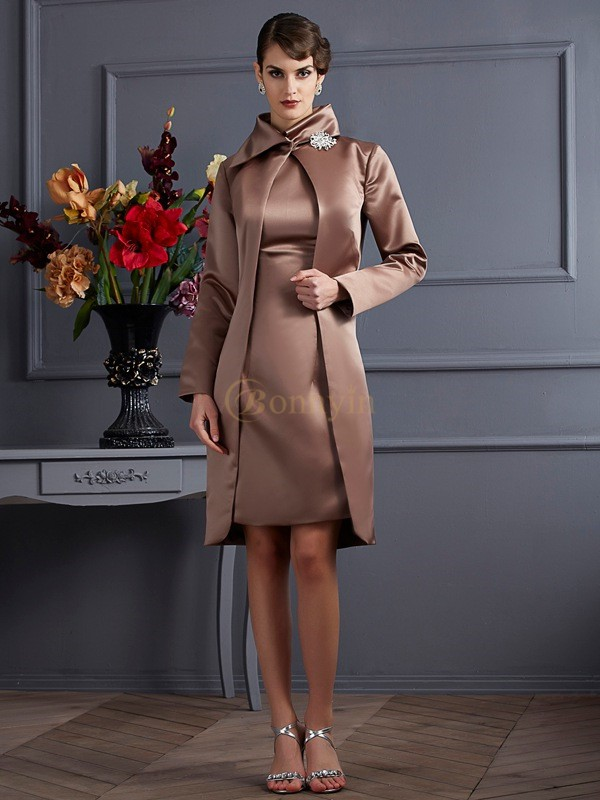 Chocolate Satin High Neck Sheath/Column Knee-Length Dresses
