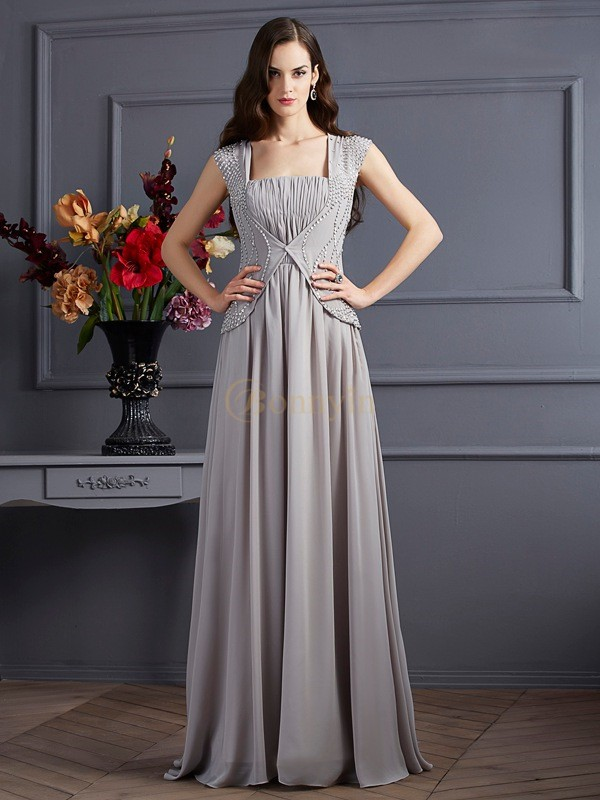 Grey Chiffon Square A-Line/Princess Floor-Length Dresses