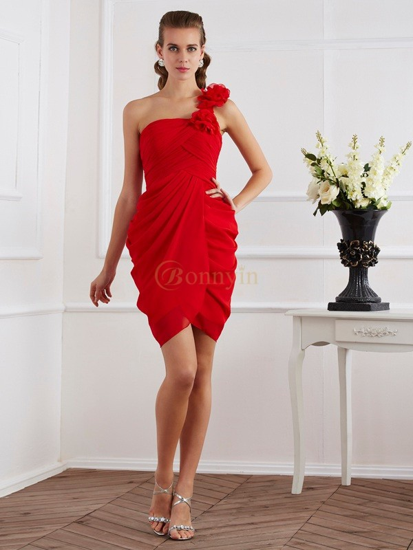 Red Chiffon One-Shoulder Sheath/Column Short/Mini Cocktail Dresses