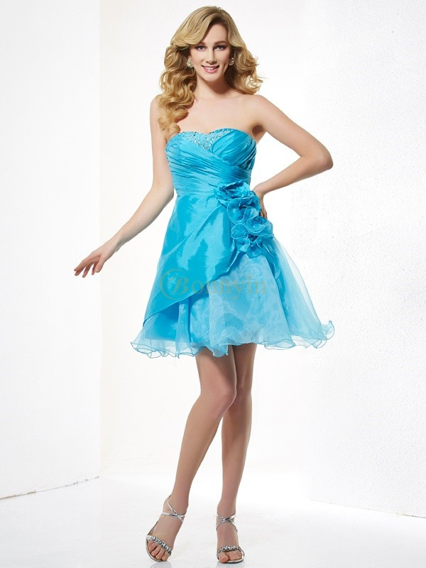 Blue Taffeta Sweetheart A-Line/Princess Short/Mini Cocktail Dresses