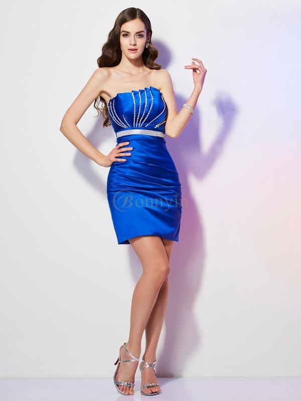 Royal Blue Satin Strapless Sheath/Column Short/Mini Cocktail Dresses