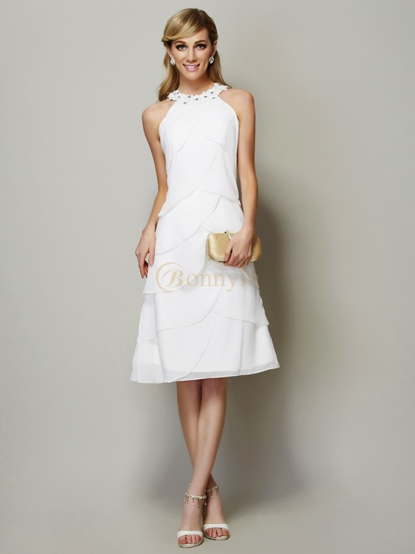 White Chiffon Bateau Sheath/Column Knee-Length Dresses