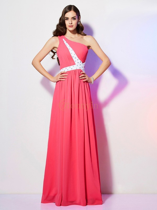 Watermelon Chiffon One-Shoulder A-Line/Princess Floor-Length Dresses