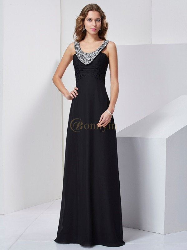 Black Chiffon Scoop A-Line/Princess Floor-Length Dresses