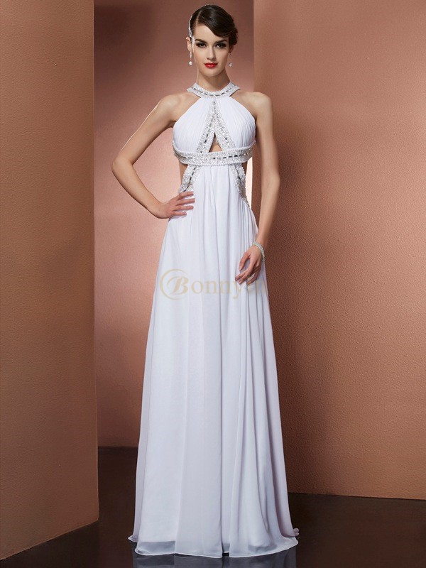 White Chiffon Bateau A-Line/Princess Sweep/Brush Train Dresses