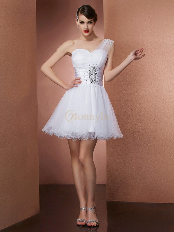 White Net Satin One-Shoulder A-Line/Princess Short/Mini Cocktail Dresses