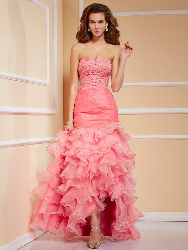 Watermelon Organza Sweetheart Trumpet/Mermaid Asymmetrical Dresses