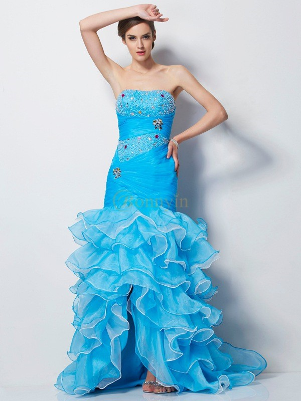 Blue Tulle Sweetheart Trumpet/Mermaid Asymmetrical Dresses