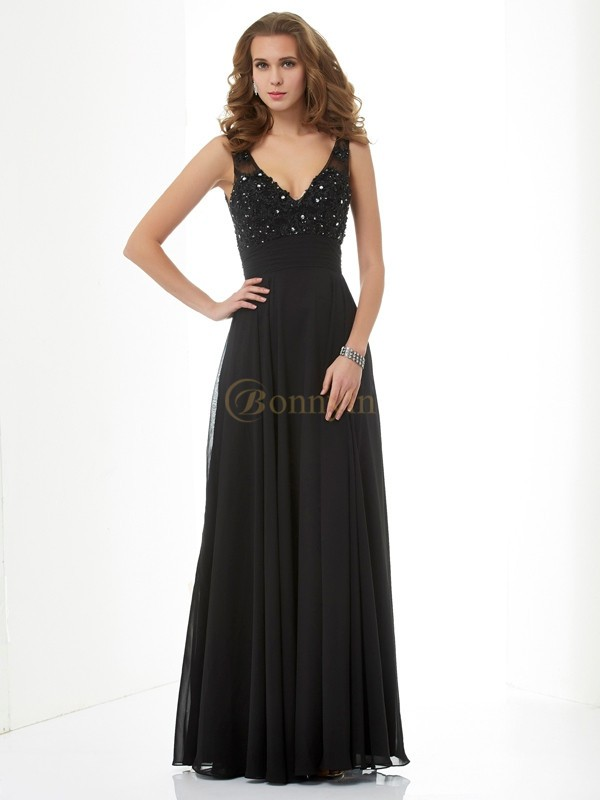 Black Chiffon V-neck Straps A-Line/Princess Floor-Length Dresses