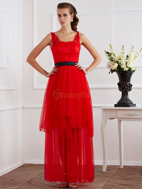 Red Elastic Woven Satin Straps A-Line/Princess Ankle-Length Dresses