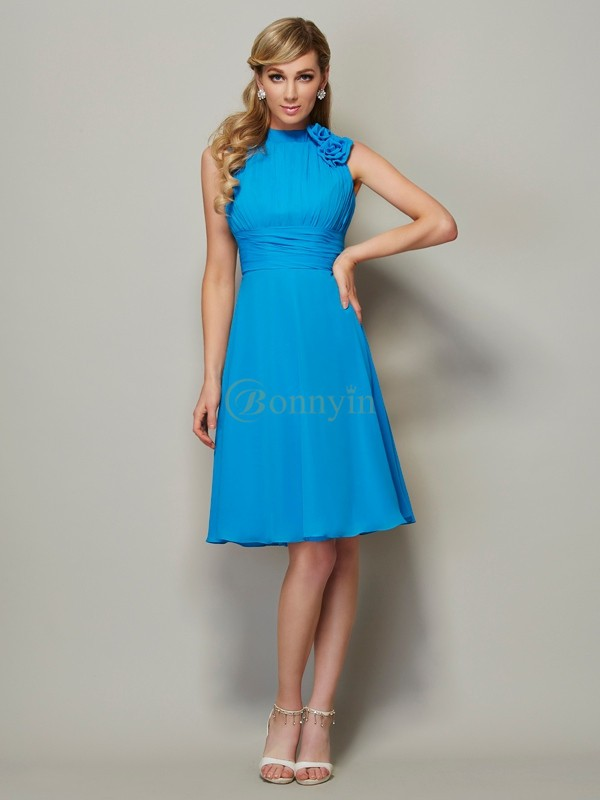 Blue Chiffon High Neck A-Line/Princess Knee-Length Bridesmaid Dresses