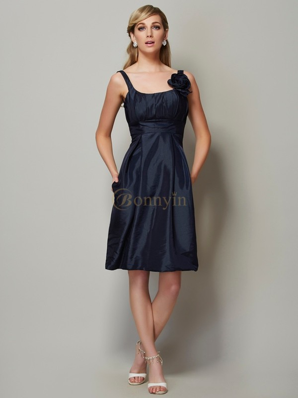 Dark Navy Taffeta Straps A-Line/Princess Knee-Length Dresses