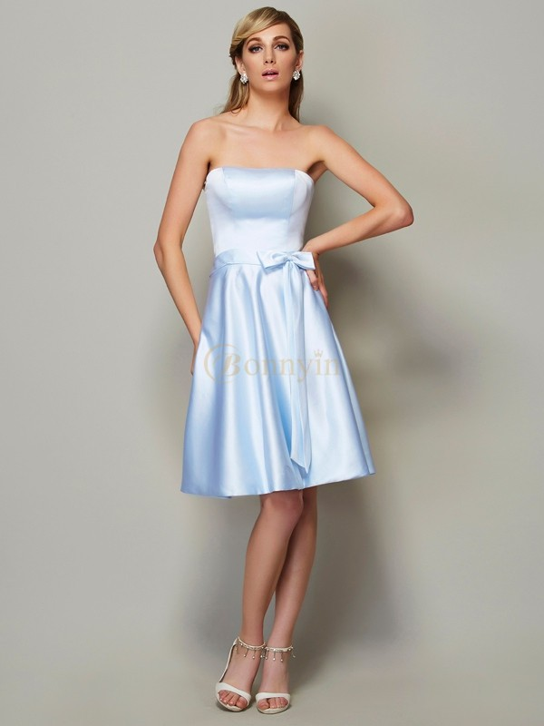 Light Sky Blue Satin Strapless A-Line/Princess Knee-Length Bridesmaid Dresses