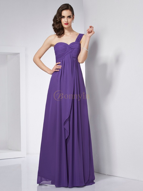 Regency Chiffon One-Shoulder A-Line/Princess Floor-Length Dresses
