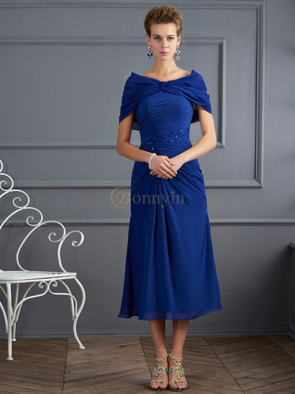 Royal Blue Chiffon Scoop Sheath/Column Short/Mini Mother of the Bride Dresses