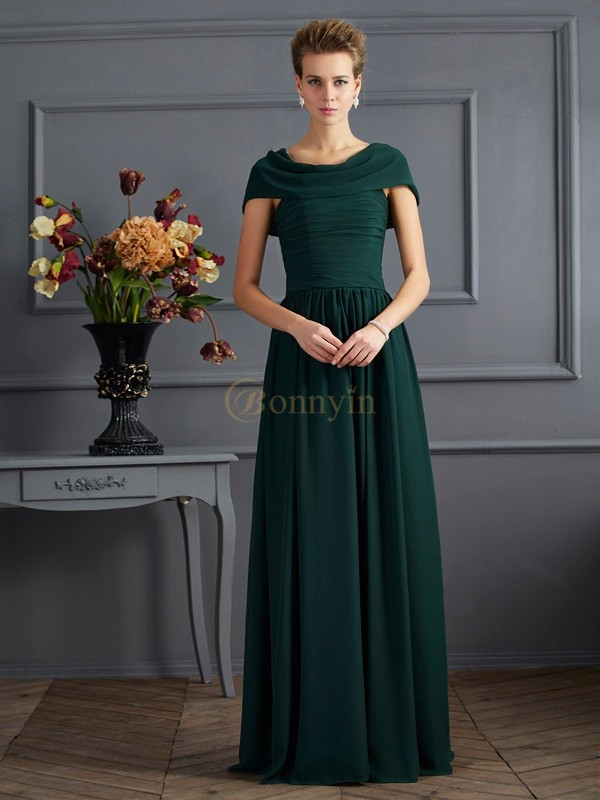 Hunter Green Chiffon Scoop A-Line/Princess Floor-Length Mother of the Bride Dresses