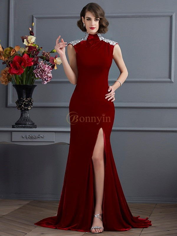 Burgundy High Neck A-Line/Princess Sweep/Brush Train Dresses