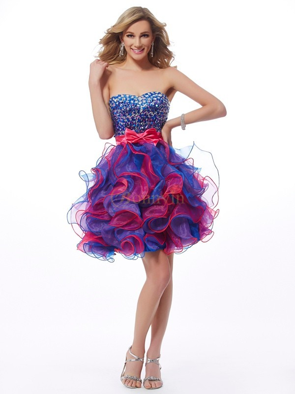Fuchsia Royal Blue Organza Sweetheart A-Line/Princess Short/Mini Cocktail Dresses