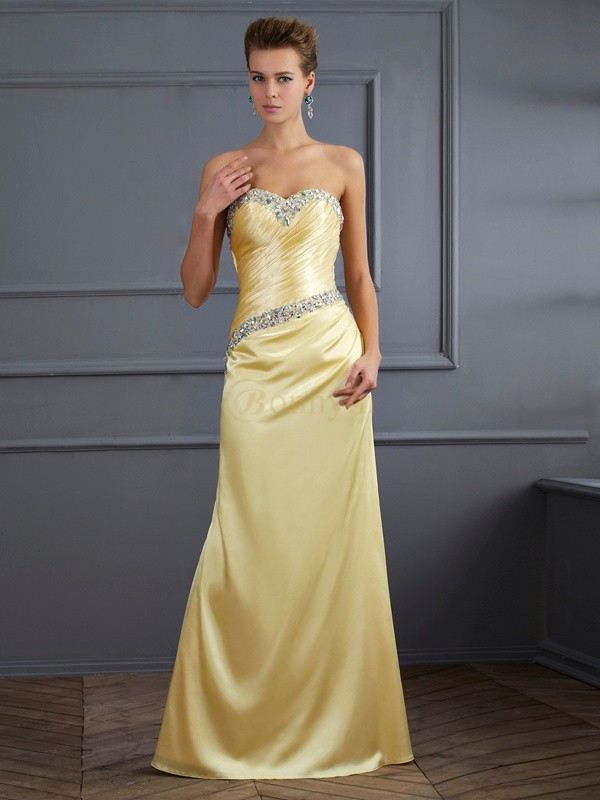 Yellow Elastic Woven Satin Sweetheart Trumpet/Mermaid Floor-Length Dresses