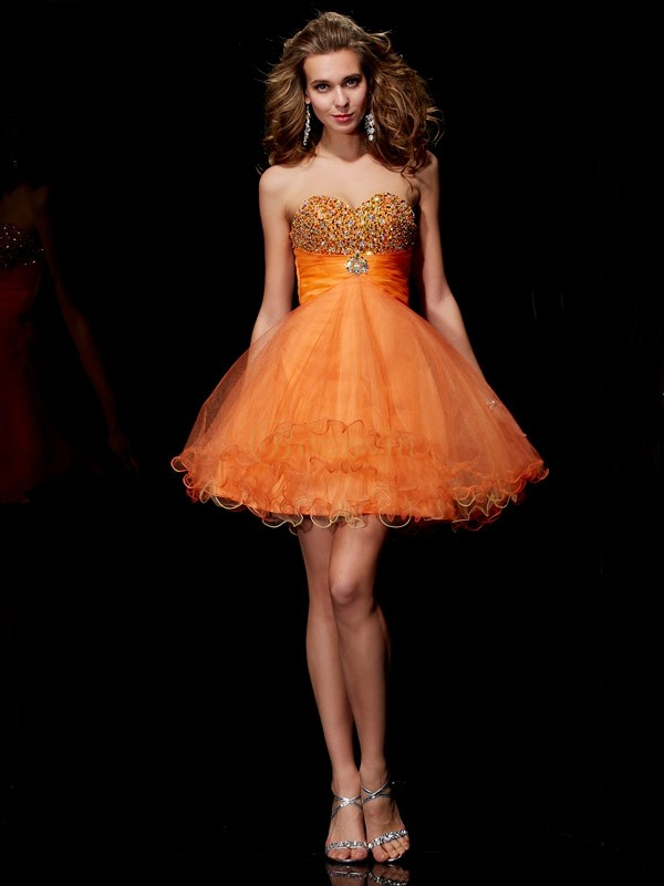 Orange Organza Satin Strapless A-Line/Princess Short/Mini Cocktail Dresses