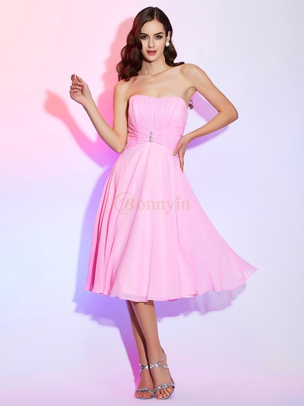 Pink Chiffon Strapless A-Line/Princess Knee-Length Bridesmaid Dresses