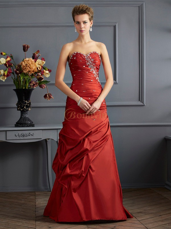 Burgundy Taffeta Sweetheart Trumpet/Mermaid Floor-Length Dresses