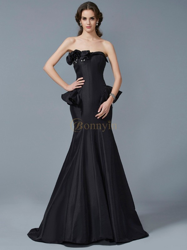 Black Taffeta Strapless Trumpet/Mermaid Sweep/Brush Train Dresses