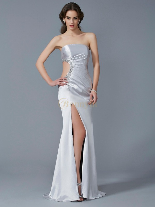 Ivory Elastic Woven Satin Strapless Trumpet/Mermaid Sweep/Brush Train Dresses