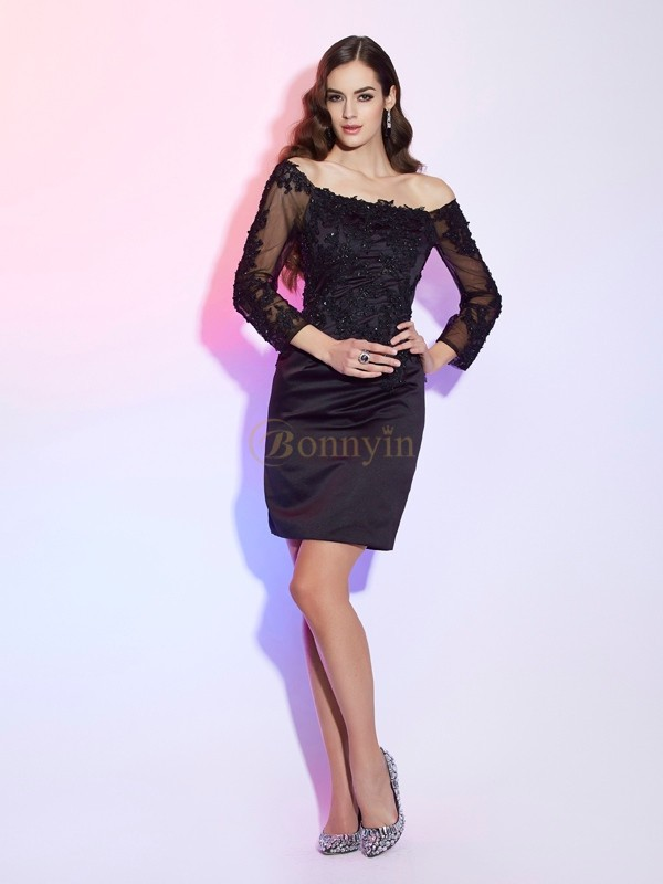 Black Satin Lace Off the Shoulder Sheath/Column Short/Mini Mother of the Bride Dresses