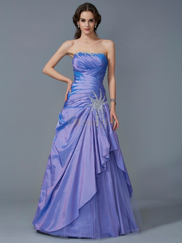 Lavender Taffeta Strapless Trumpet/Mermaid Floor-Length Dresses