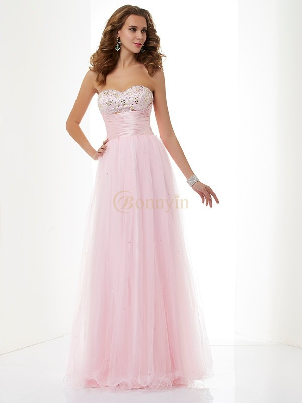 Pink Elastic Woven Satin Net Sweetheart A-Line/Princess Floor-Length Dresses