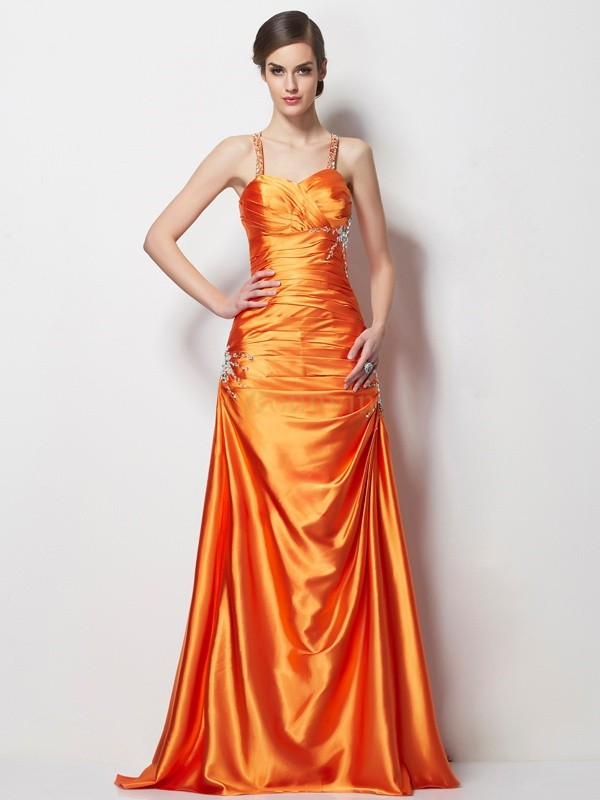 Orange Elastic Woven Satin Spaghetti Straps A-Line/Princess Sweep/Brush Train Dresses