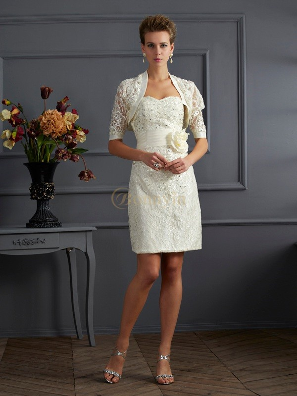 Champagne Taffeta Sweetheart Sheath/Column Knee-Length Dresses