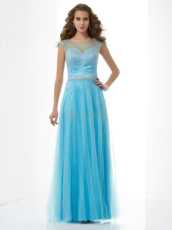 Blue Net High Neck Sheath/Column Floor-Length Dresses