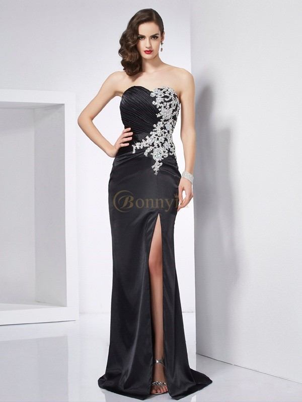 Black Elastic Woven Satin Sweetheart Trumpet/Mermaid Sweep/Brush Train Dresses