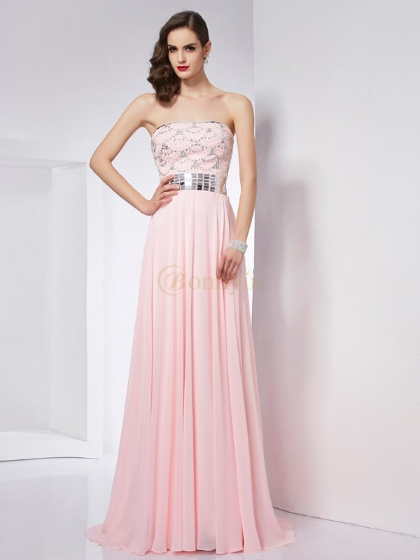 Pink Chiffon Strapless A-Line/Princess Sweep/Brush Train Dresses