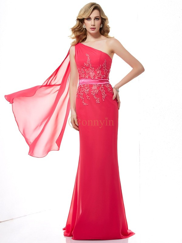 Fuchsia Chiffon One-Shoulder Sheath/Column Sweep/Brush Train Dresses