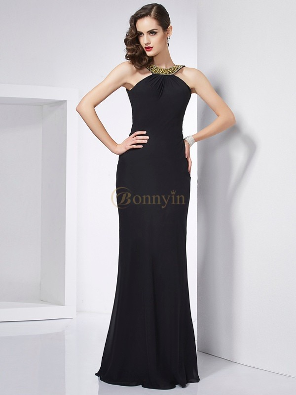 Black Chiffon Jewel Trumpet/Mermaid Floor-Length Dresses