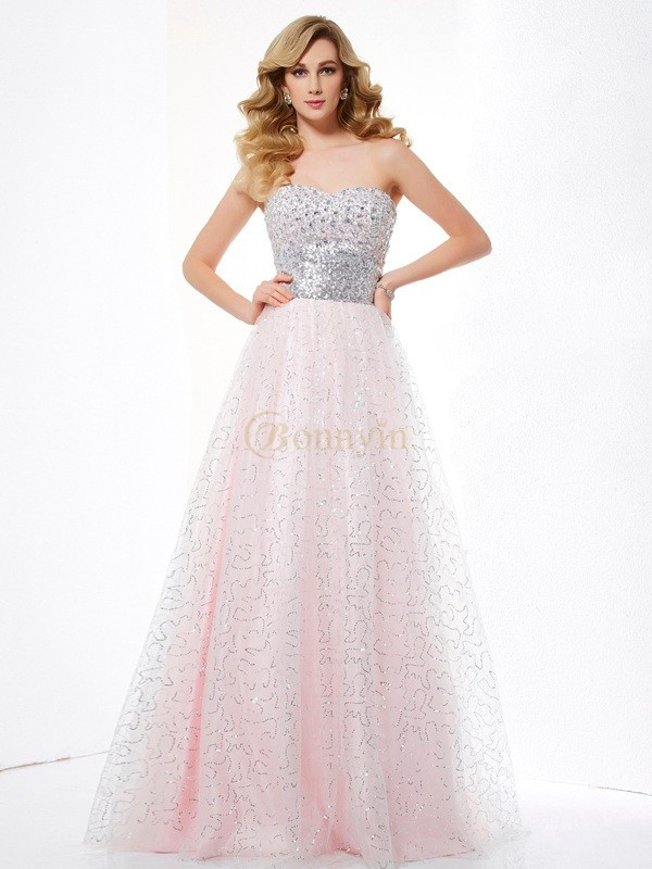 Pearl Pink Net Satin Sweetheart Ball Gown Floor-Length Dresses
