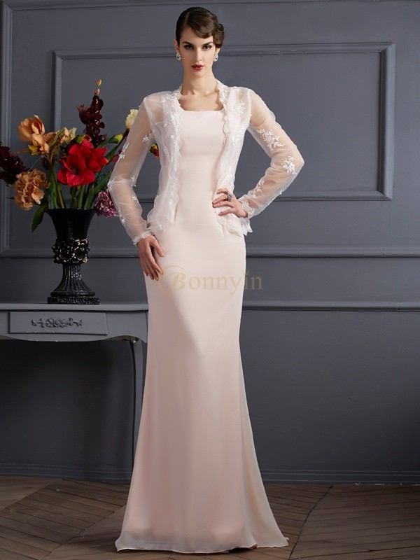 Pearl Pink Chiffon Square Sheath/Column Floor-Length Mother of the Bride Dresses