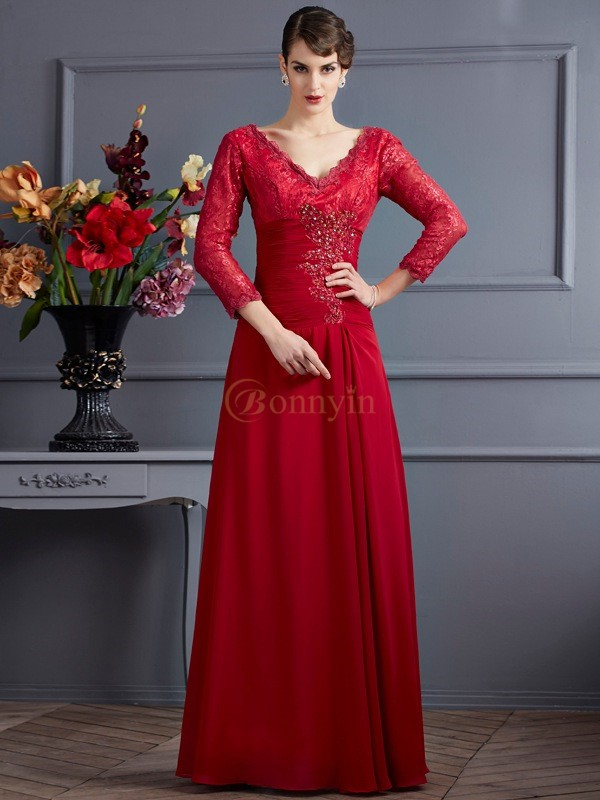 Red Chiffon V-neck Sheath/Column Floor-Length Dresses