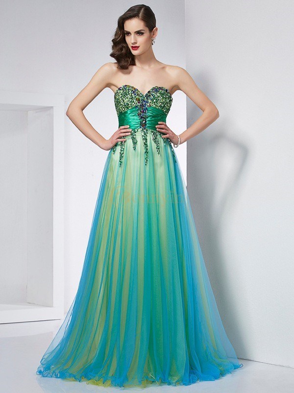 Green Elastic Woven Satin Net Sweetheart Ball Gown Sweep/Brush Train Dresses