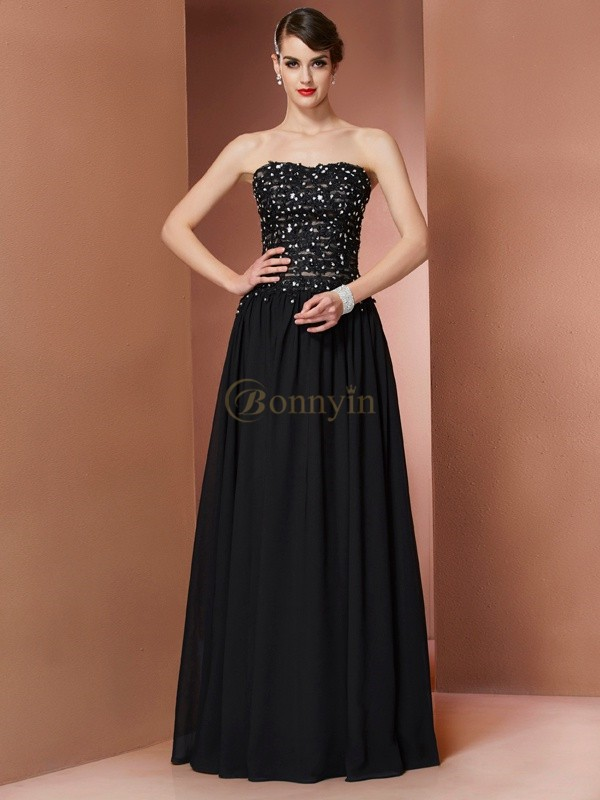 Black Chiffon Strapless A-Line/Princess Floor-Length Dresses