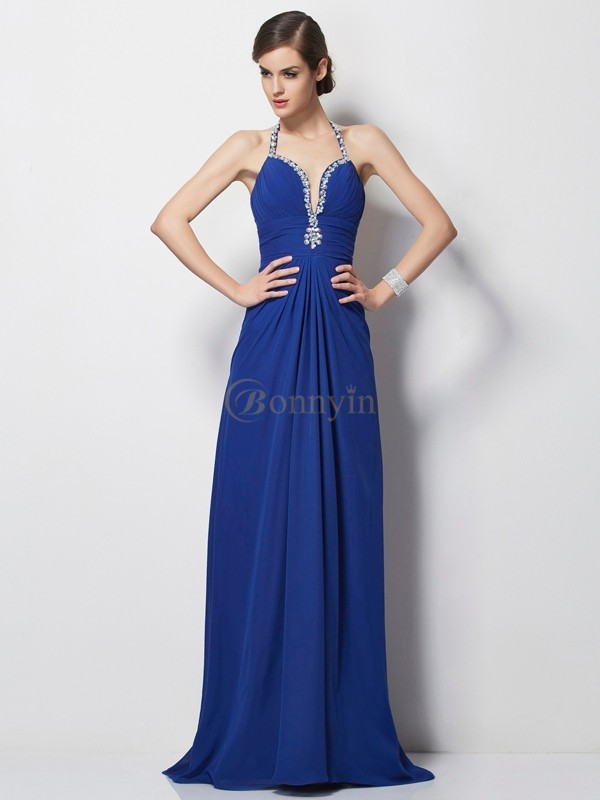 Royal Blue Chiffon Halter A-Line/Princess Sweep/Brush Train Dresses