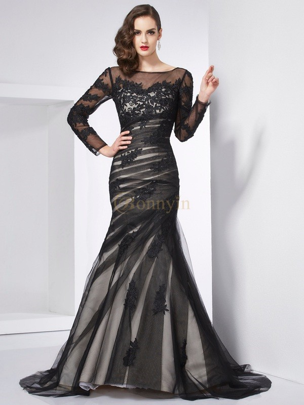 Black Net Satin Jewel Trumpet/Mermaid Sweep/Brush Train Dresses